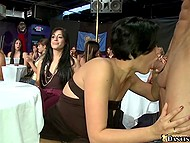 Girls choke so sweet while stripper's cock is moving in and out of mouths at corporate event 7
