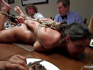 Bohemians have some whimsy - they love tormenting hogtied naked maid during dinner