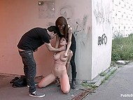 Babe does it in an underpass so that all the passers-by can see helpless love being tied up and banged 11