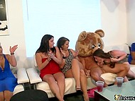 Stripper in teddy bear suit performs a hot dance and makes all the girls suck in turn 11