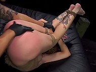 Girl likes the way man fucks her from behind and then wears leather gloves and masturbates pussy 10