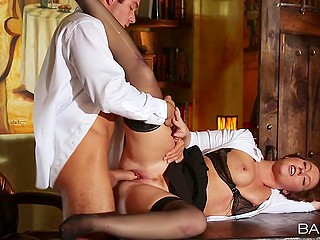 Excited boss nicely stretches chubby secretary Maddy Oreilly in his darkened cabinet