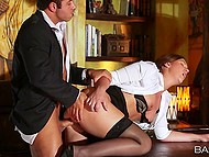Redhead in black lingerie is obedient doing all the dirty things boss wants from her in his office 3
