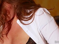 Redhead in black lingerie is obedient doing all the dirty things boss wants from her in his office 7