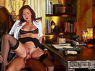 Redhead in black lingerie is obedient doing all the dirty things boss wants from her in his office 8