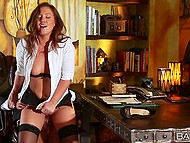Redhead in black lingerie is obedient doing all the dirty things boss wants from her in his office 9