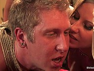 Two pornstars get off on spanking hogtied slave boy and cum from cunnilingus then making him lick toes 7