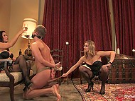 Two pornstars get off on spanking hogtied slave boy and cum from cunnilingus then making him lick toes 8