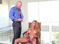 Gorgeous blonde Corinna Blake with massive tits plays with vibrator but sex toy won't replace bald hubby's cock 6