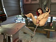 Babe with red hair Raven Rockette uses a lot of sex toys and even fuck-machine for masturbation