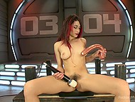 Babe with red hair Raven Rockette uses a lot of sex toys and even fuck-machine for masturbation 5
