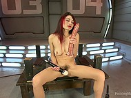 Babe with red hair Raven Rockette uses a lot of sex toys and even fuck-machine for masturbation 6