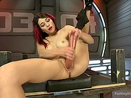 Babe with red hair Raven Rockette uses a lot of sex toys and even fuck-machine for masturbation 7