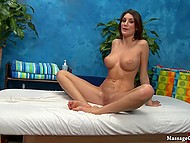 Masseur fucks shaved pussy of lovely with natural chest and ejaculates on sexy tummy 9