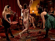 Woman with tiara has a birthday and she decides to entertain friends by female domination 11