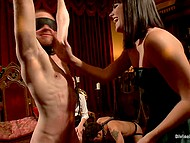 Woman with tiara has a birthday and she decides to entertain friends by female domination 4