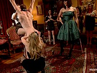Woman with tiara has a birthday and she decides to entertain friends by female domination 6