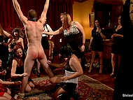 Woman with tiara has a birthday and she decides to entertain friends by female domination 8