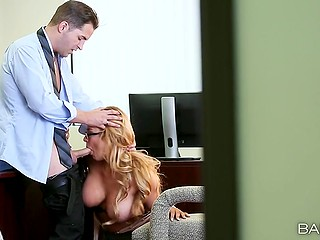 Secretary with adorable shapes has nothing against boss calling her to office for blowjob