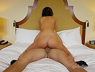 Girl with two pigtails looks beautiful and sexually attractive so agent takes advantage of her muff 11