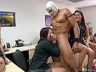 Black man turns beauties on and blatantly shoves hard cock in mouths till facial cumshot happens 11