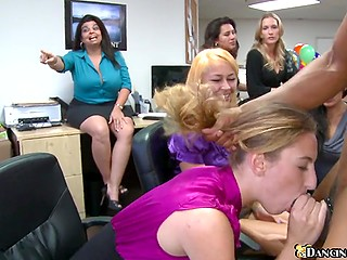 Female office workers throw a party and suck black stripper's cock as soon as boss leaves for a while