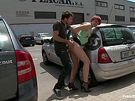 Dominant stud humiliates submissive redhead by facefucking and nailing poor slut in street