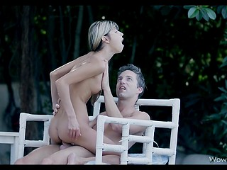 Gina Gerson's beloved gives her outdoor cunnilingus and skinny girl rides cock after sucks it