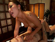 Asian masseuse Asa Akira loves when handsome client roughly nails and creams her in parlor 5
