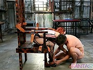 After anal penetration from behind, redhead in corset and stockings sucks cock and sex continues 7