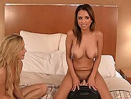 Arousing chicks know how to please boy so they start moaning while riding Sybian-machine