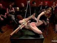 Hogtied looker wants to be scored on camera and she doesn't care about viewers watching her being punished 5