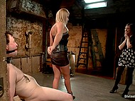 Steamy woman in leather dress tied up husband to make him watch her sucking another man 6