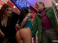 Porn store manager was going to fire female but mouth helped her save the job giving blowjob to all his staff members 4
