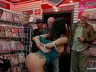 Porn store manager was going to fire female but mouth helped her save the job giving blowjob to all his staff members 5
