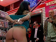 Porn store manager was going to fire female but mouth helped her save the job giving blowjob to all his staff members 6