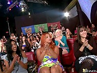 Babes give blowjob to black stripper in turn at the bachelorette party and the bravest one gets facialized 10