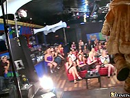 Babes give blowjob to black stripper in turn at the bachelorette party and the bravest one gets facialized 9