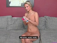 Czech girl makes herself comfortable in front of female agent and shows how she satisfies pussy 7