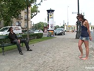 Bearded man walks handcuffed girl in the street and brings her to a bus where she crawls being naked 4