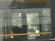 Bearded man walks handcuffed girl in the street and brings her to a bus where she crawls being naked 8