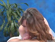Curly young masseuse knows what man comes for and silently gives him blowjob and vagina 8