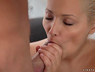 Boyfriend helps excited blonde girl using tongue and she gives him blowjob in return 8