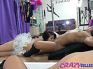Asian doesn't want to get away from cool pussy of brunette and she is even ready to lick it 9