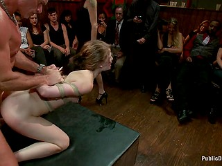 Natural hussy Sensi Pearl roughly fucked and facialized in front of amazed people in pub