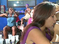 Chicks scream loudly welcoming brave girls who suck cock of well-set black stripper 10