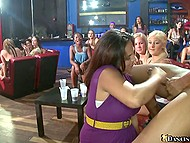 Chicks scream loudly welcoming brave girls who suck cock of well-set black stripper 11