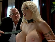 Blonde MILF suffers slaps on enormous boobs and clamps on nipples but then sucks cock 8