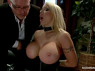 Blonde MILF suffers slaps on enormous boobs and clamps on nipples but then sucks cock 9