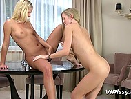 Mischievous blonde lesbian girls bring bladders into play to make sex more interesting 5